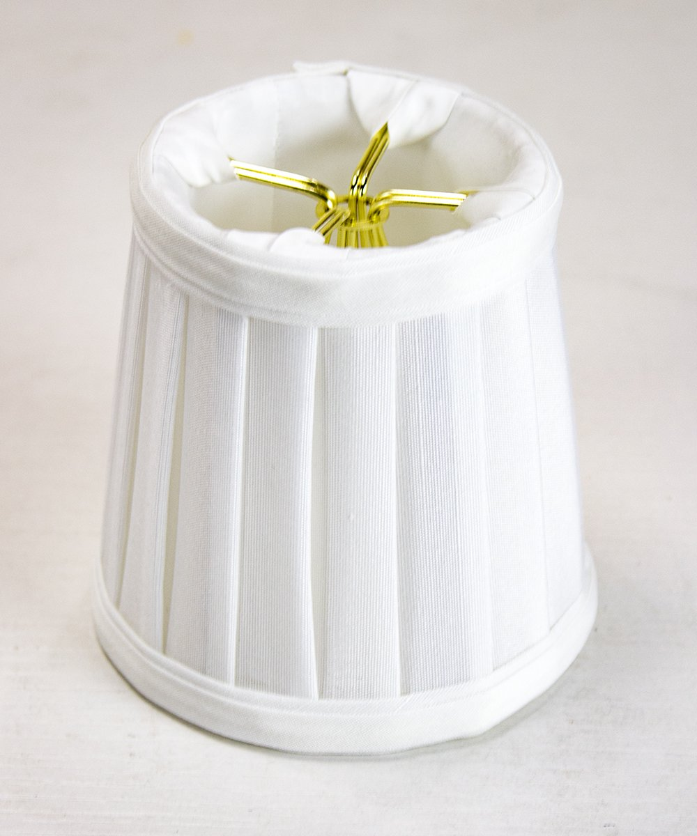 3x4x4 Down White Pleated Clip-on Candelabra Lampshade By Home Concept - Perfect for chandeliers, foyer lights, and wall sconces - Small, White