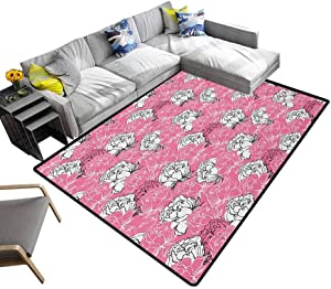 """Pink and White Area Rug Hand Drawing Style Rose Blossoms Romantic Rich Garden in Springtime Washable Area Rug Pink White Black (4'7""""x5'2"""")"""