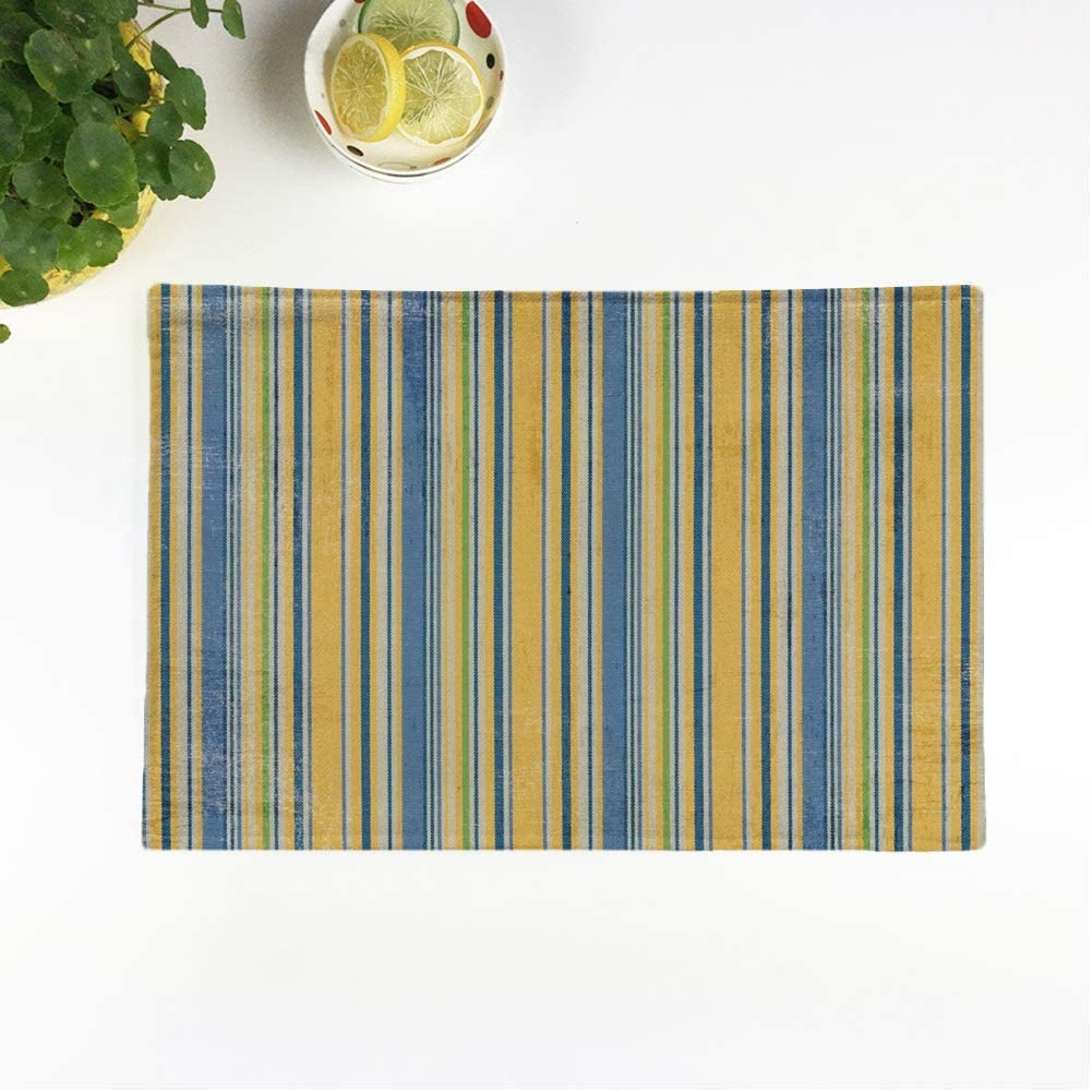 Rouihot Set Of 4 Placemats Navy Royal Yellow Blue Twill Stripe White Distressed Gold Non Slip Doily Place Mat For Dining Kitchen Table Home Kitchen