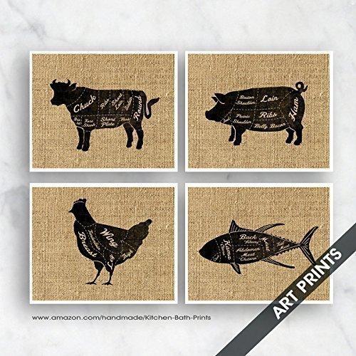 Amazon Beef Chicken Lamb Pork Butcher Diagram Series Set