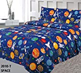 Elegant Home Multicolor Blue Solar System Space Ships & Rockets Universe Galaxy Stars Fun 3 Piece Printed Twin Size Sheet Set with Pillowcase Flat Fitted Sheet for Boys/Kids # Space (Twin Size)