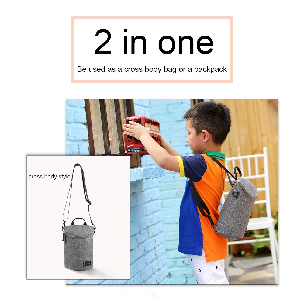 Breastmilk Cooler Bag - fits up to 6 Milk Storage Bags. Can Also be Used as Bottle Cooler- Holds 2 Big Bottles. Useful After Baby Stage for Carrying Snacks. Hangs on Stroller/fits Inside Any Bag