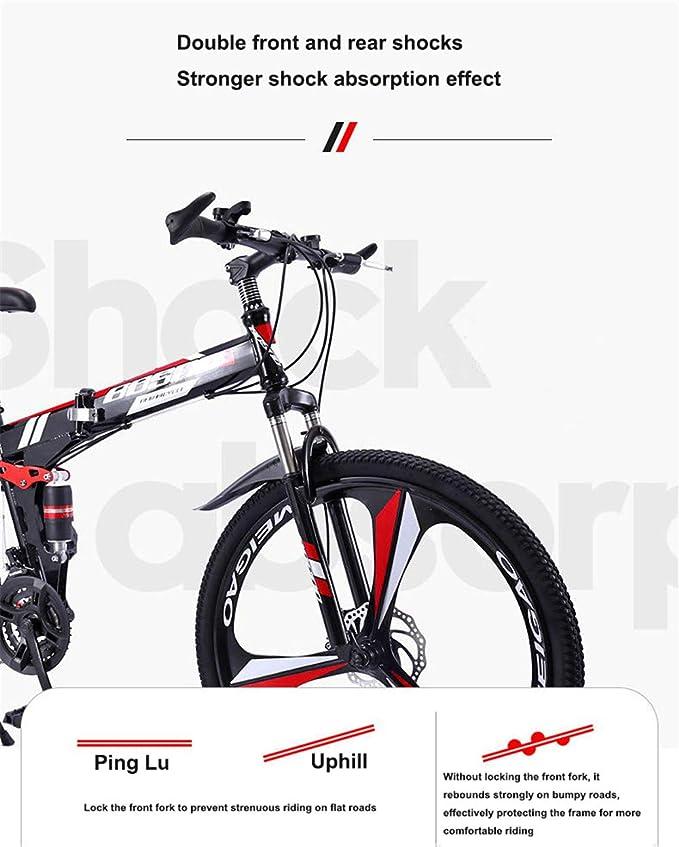 ZJDU Bicicleta De Montaña De Amortiguación Plegable De Marco De ...