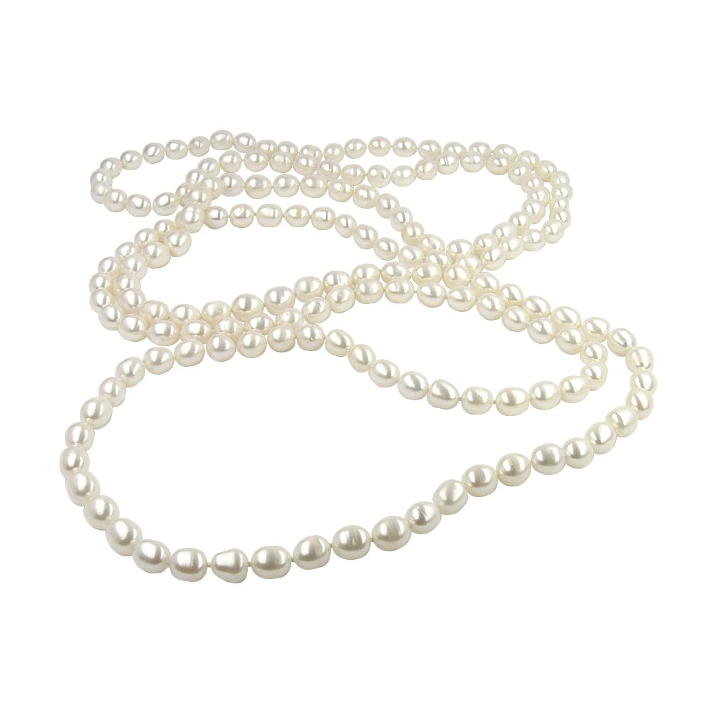 Long Pearl Necklace for Women | AAA White Freshwater Cultured Pearls | 66'' Endless Rope Jewelry | Natural Color 7-8MM Oval Drop by the Pearl Exchange