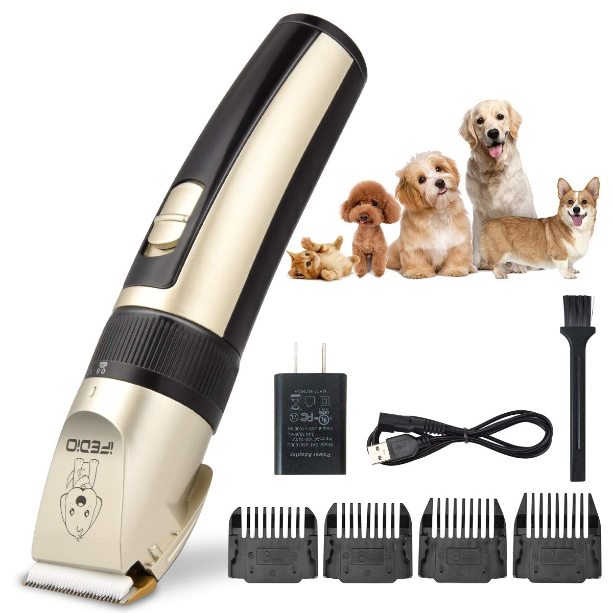 TXPY Professional Dog Clippers Rechargeable Dog Grooming Kit Cordless Pet Grooming Clippers Low Noise Dog Grooming Clippers Pet Clippers Suitable for Dogs Cats and Other Pets House Animals