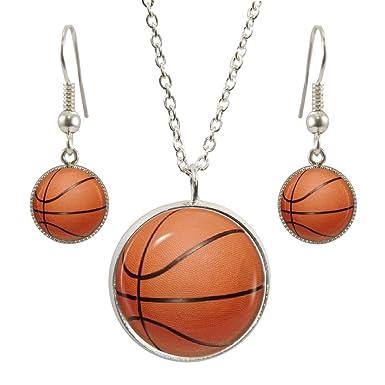 Diseño de balón de baloncesto Colgante con Collar y Pendientes a ...