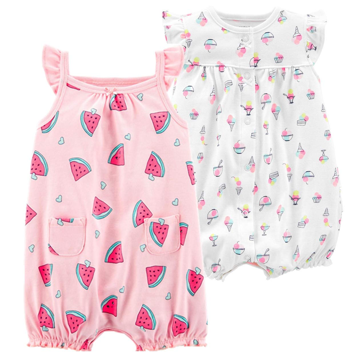Carter's Baby Girls' 2-Pack Romper, Watermelon/Ice