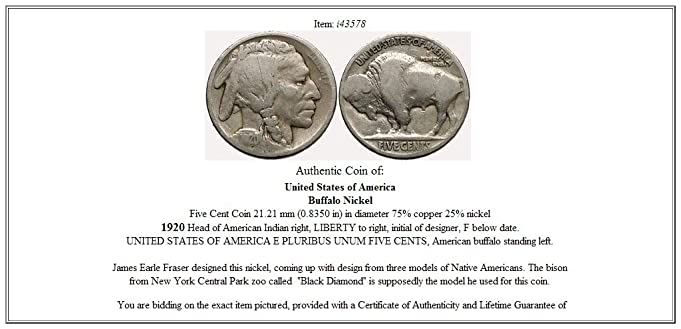 Amazon.com: 1920 BUFFALO NICKEL 5 Cents of United States of America USA  Antique Coin i43578: Toys & Games