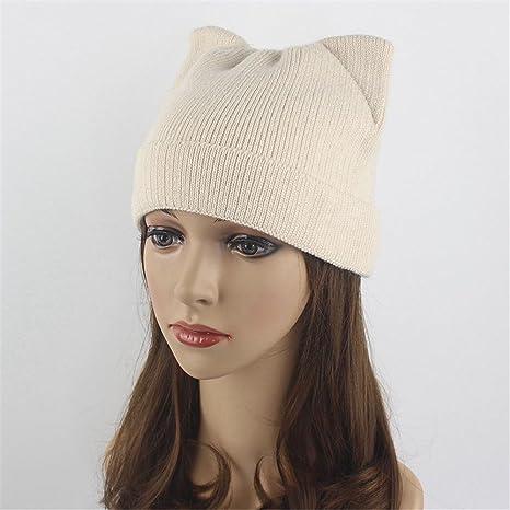 e09ac31a651 Fall Winter Fashion Women Knitted Bobble Hat Single Color Warm Striped Cap  Creative Cat Ear Hat