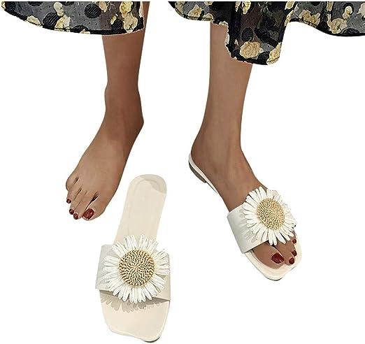 Women Flip Flops Flowers Sandals Open Toe Flat Shoes Casual Platform Slippers UK