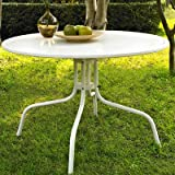 Timothea Metal Dining Table in White, Sturdy steel construction