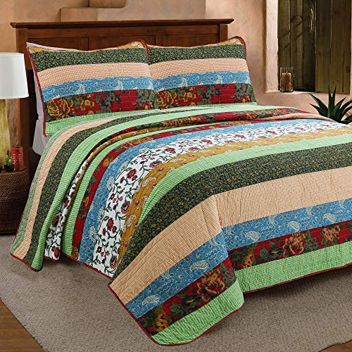 Cozy Line Home Fashions Eleonore Green Beige Floral Striped Flower Lodge House Cabin Cottage 100% Cotton Quilt Bedding Set Reversible Coverlet Bedspread for Women (Boho Stripe, King - 3 Piece)