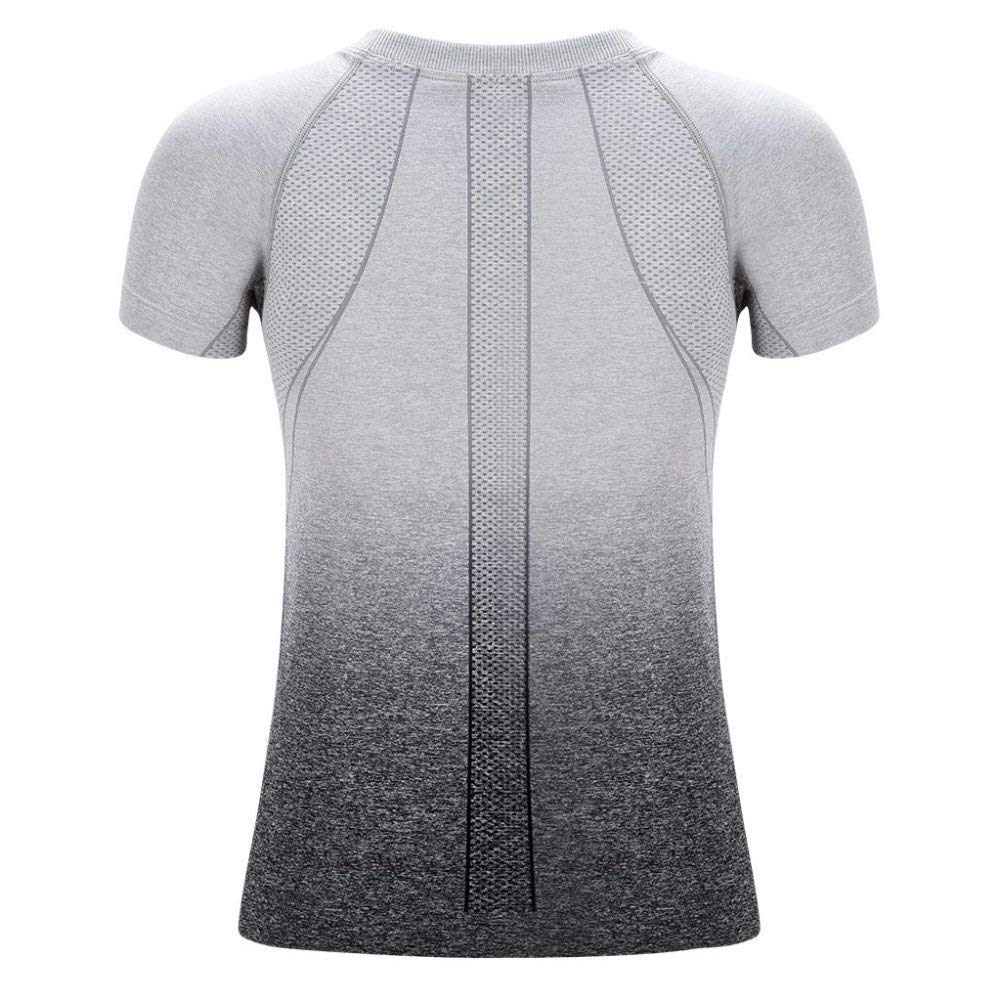 Maritown Damen Laufshirt Kurzarm Yoga Top Fitness Top Shirt Yoga Sport Top T Sommer Indoor Outdoor Bekleidung