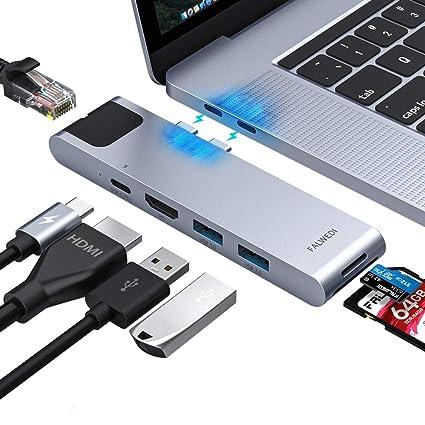96e6d238a61 Amazon.com: USB C Hub, MacBook Pro Adapter, Falwedi 7-in-2 USB-C Hub ...