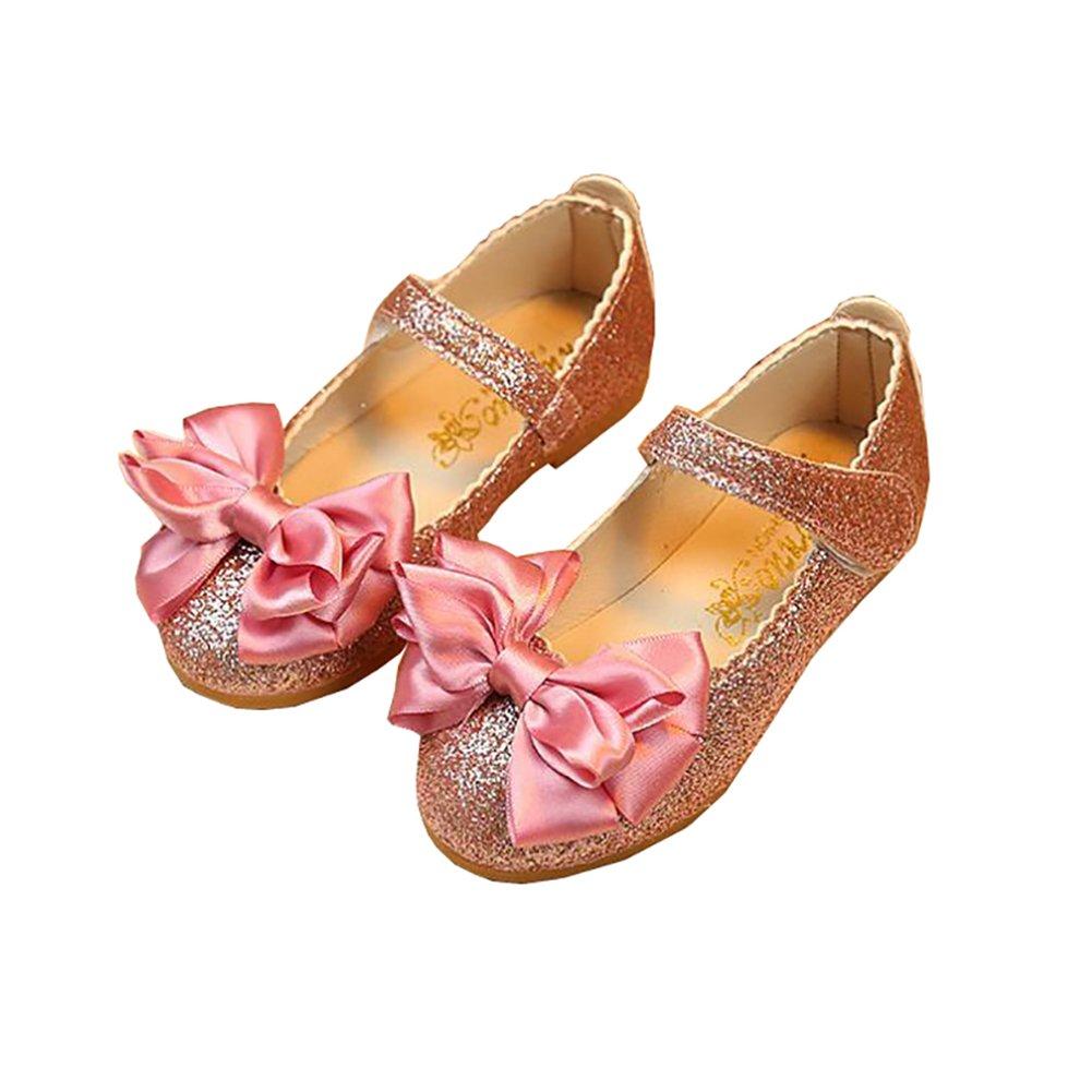 BININBOX Girls Bowknot Flat Shoes Princess Girls Dress Shoes Kids