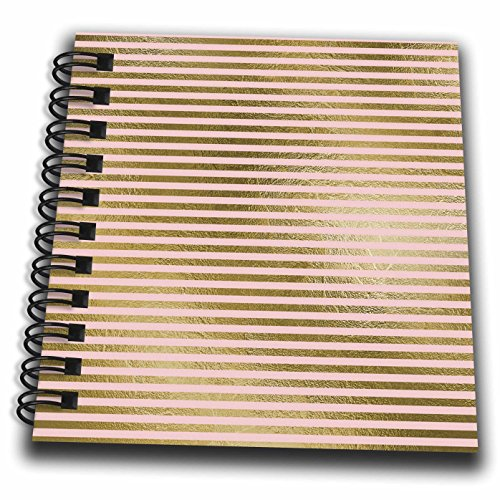 3dRose Anne Marie Baugh - Stripes - Pink and Faux Gold Stripes - Mini Notepad 4 x 4 inch (db_283274_3) (Stripe Notepad Gold)