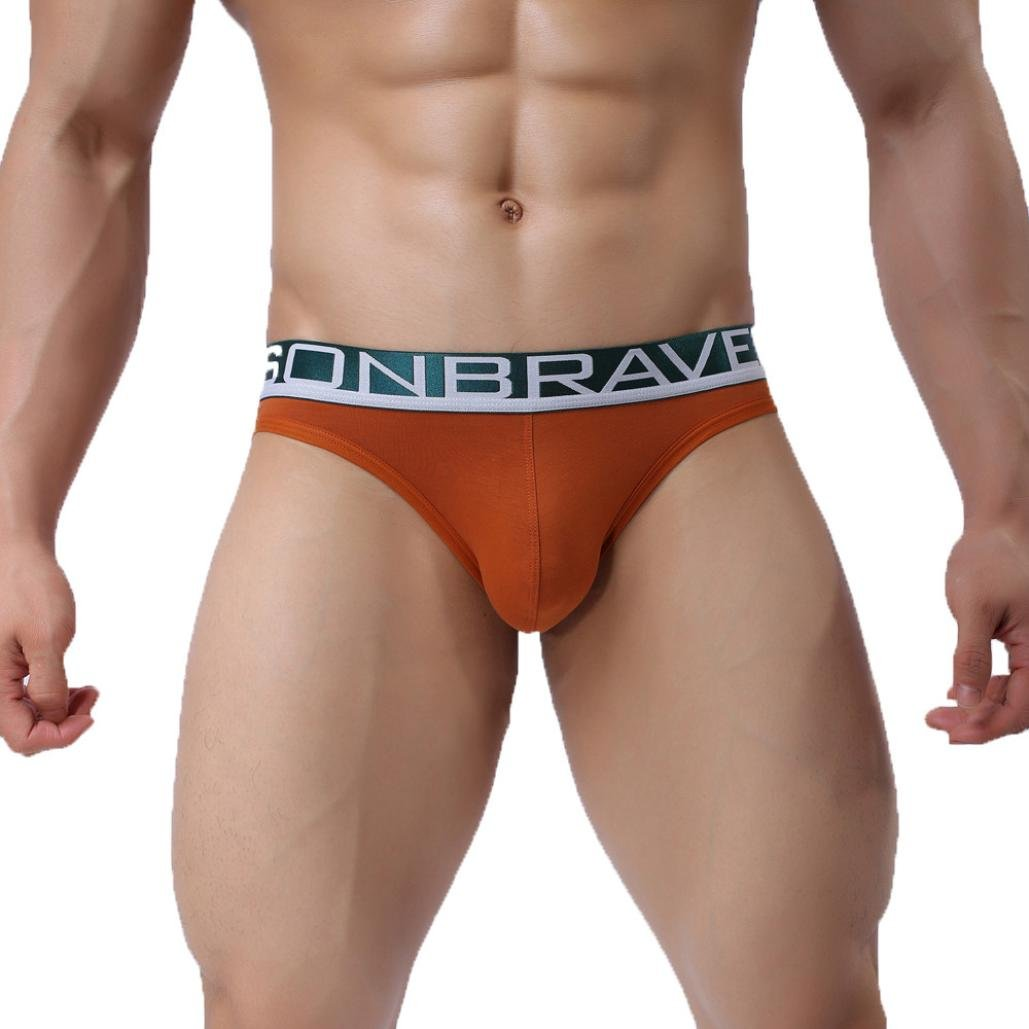 Pocciol Men's Underwear, Mens Sexy Cotton Quality Brand Breathable Low Rise Soft Bulge Pouch Underwear (Orange, XXL)
