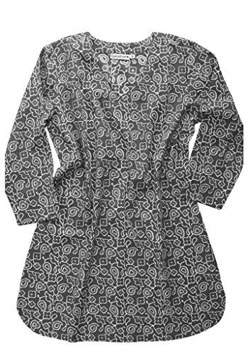AV Hand Block Printed Cotton V Neck Tunic: Grey: Sz L