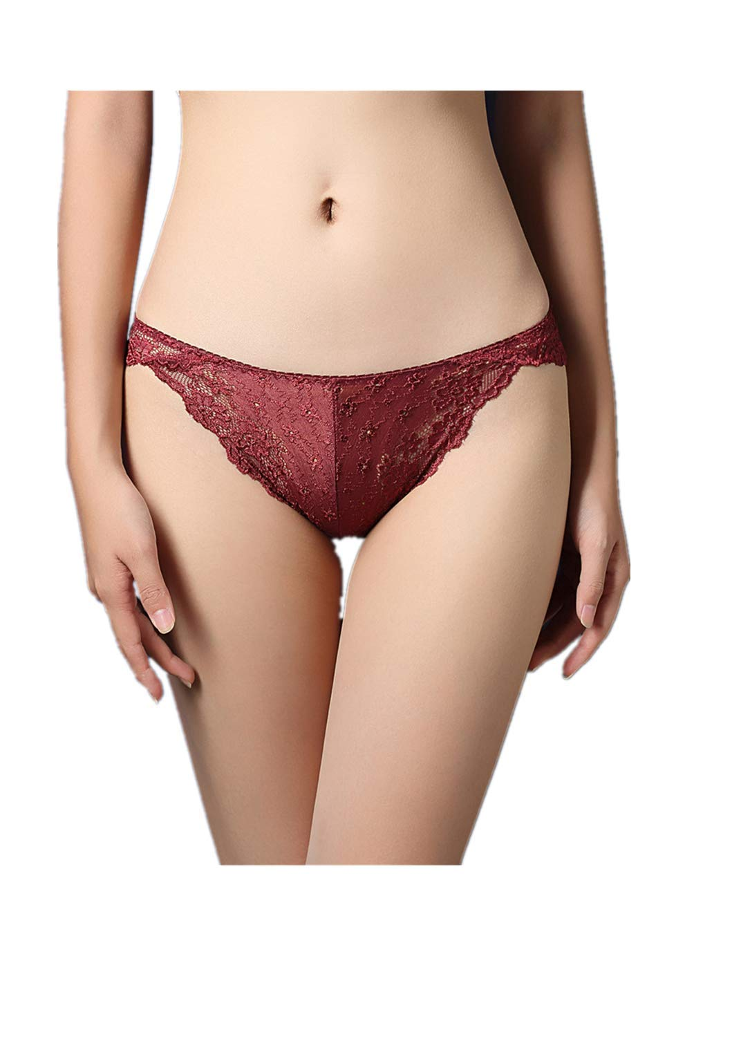 2019 New Womens Ladies Sexy Lingerie Thongs G-String Shorts Briefs Lace Solid Low-Waist Hip Hollowed Perspective Panties (Wine)
