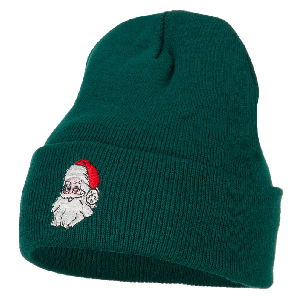 Santa Claus Head Embroidered Long Knitted Beanie