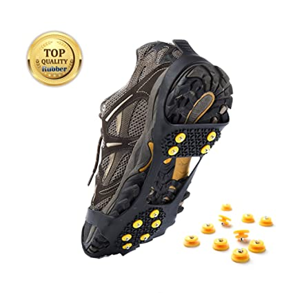 7ba195b5a Weanas Ice and Snow Traction Cleats Universal Slip-on Stretch fit Snow Ice  Spikes Crampons
