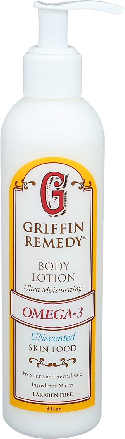 Griffin Remedy Omega-3 Body Lotion-Unscented with Organic MSM and Essential Oils, Ultra Moisturizing, All Natural, Paraben Free, Sulfate Free 8 fl oz