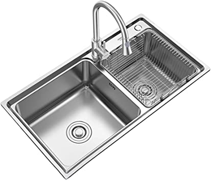 Kitchen Sink Stainless Steel Sink Kitchen Sink Vegetable Pot Dish Basin Bathroom Washbasin Desktop Under Counter Embedded Dining Double Sink Pool With Faucet Bath Fixtures Amazon Com