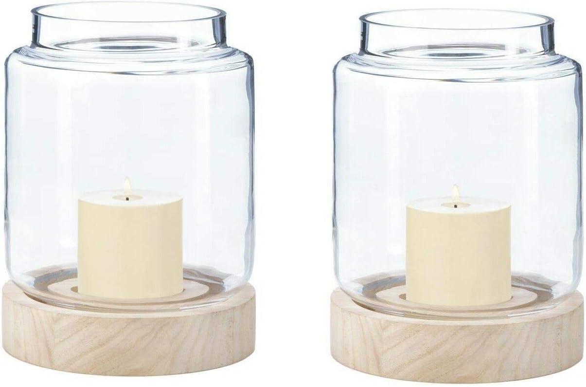 Thai Sawasdee 2 Lrg Wood Base Hurricane Cylinder Glass Jar Display Vase Candle Holder Wedding Material Wood And Glass Color Brown Size 7 X 7 X 8 5 High Home Kitchen