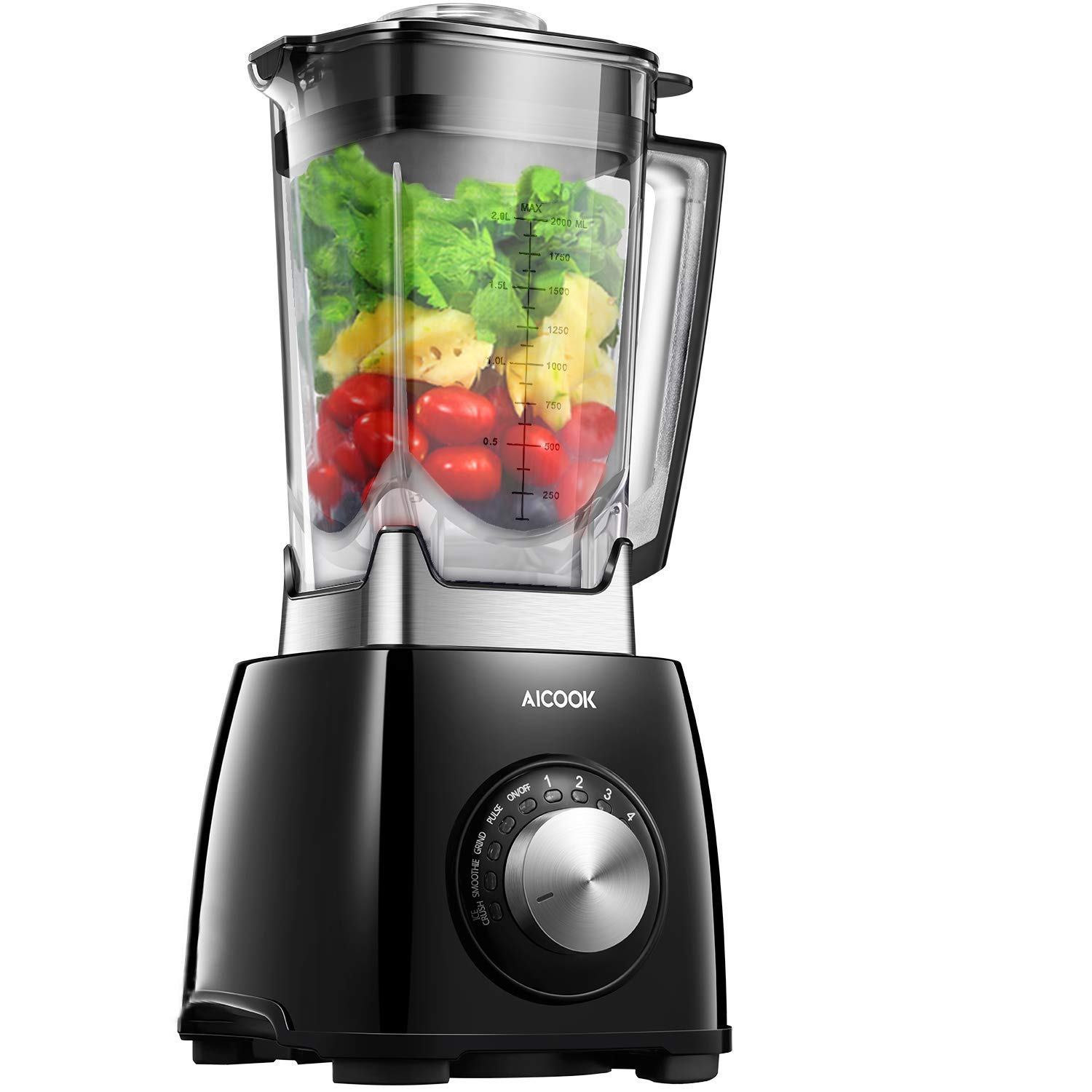 Aicook Blender, Smoothie Blender, 1450W 6 Fins Titanium Plated Stainless Steel Blades, Crush Food in Seconds, 72 Oz, BPA-Free, Black