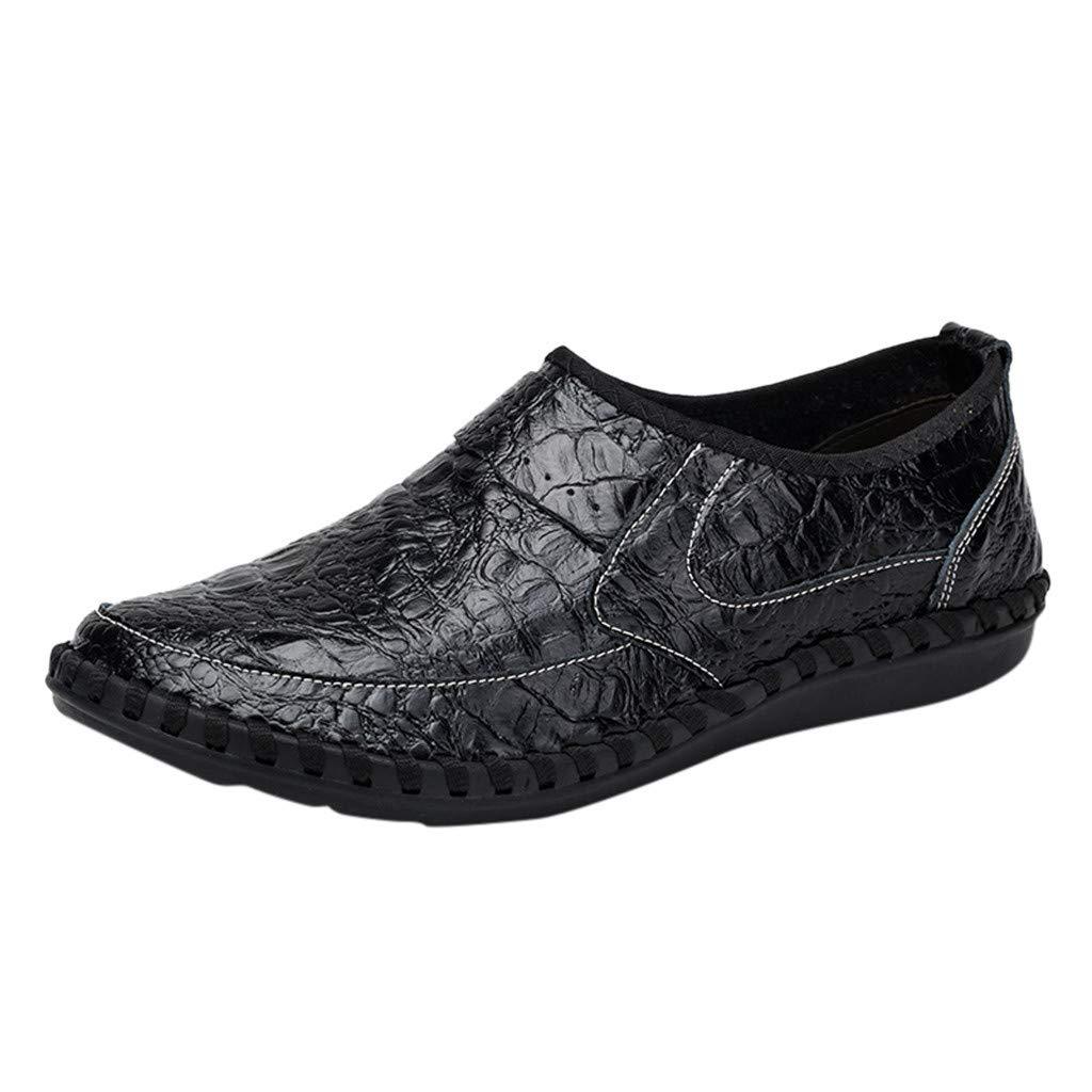 Shusuen Men's Vintage Noble Loafer Shoes Slip-on Loafer Smoking Slipper PU Loafer Black by Shusuen