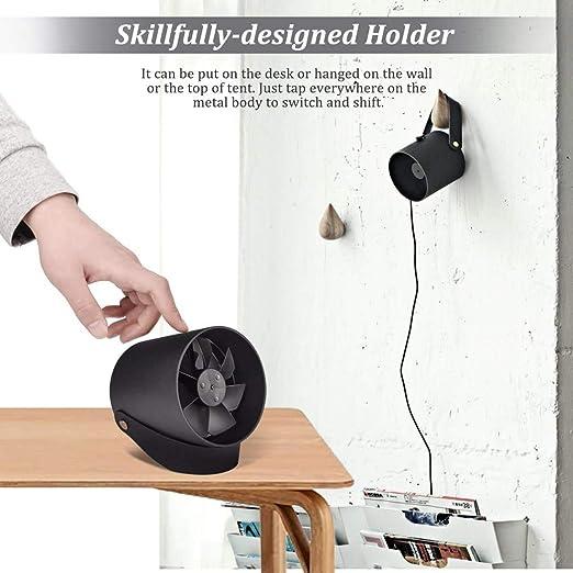 Computadoras de Escritorio Qoosea Ventilador de Mesa con Dos Hojas Turbo Muy Silenciosas Smart Touch Ventilador USB Peque/ño Ventilador para Escritorio