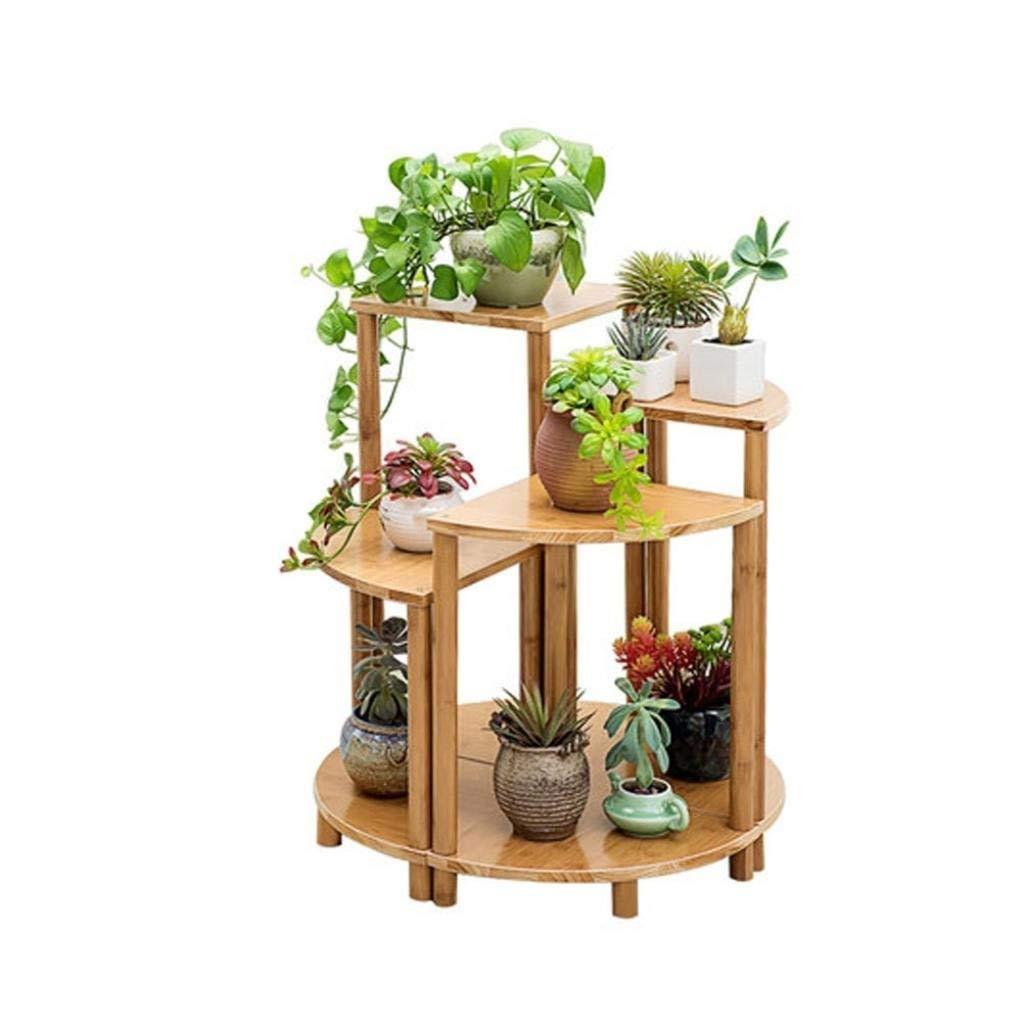 E Flower Frame Fan-Shaped Balcony Flower Stand Solid Wood Multi-Layer Living Room Environmental Plant Fleshy Flower Pot Rack Multi-Functional Floor Stand (color   C(30x60cm))