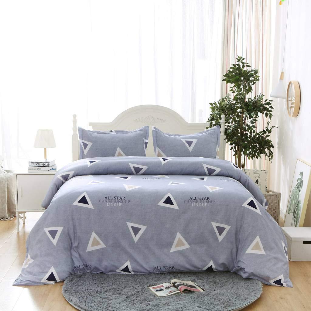 HEAVGOOD Lightweight Microfiber Duvet Cover Set,Triangle Geometric Pattern,Navy Blue Color,1 Duvet Cover 2 Pillow Shams - King Size