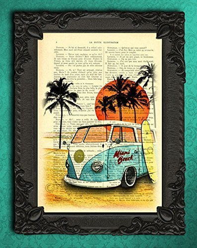 VW bus camper beach decorations, palm tree decor living room, summer print on upcycled paper, surfing posters vintage light blue white volkswagen surfer bus wall art (Cardboard Vw Bus)