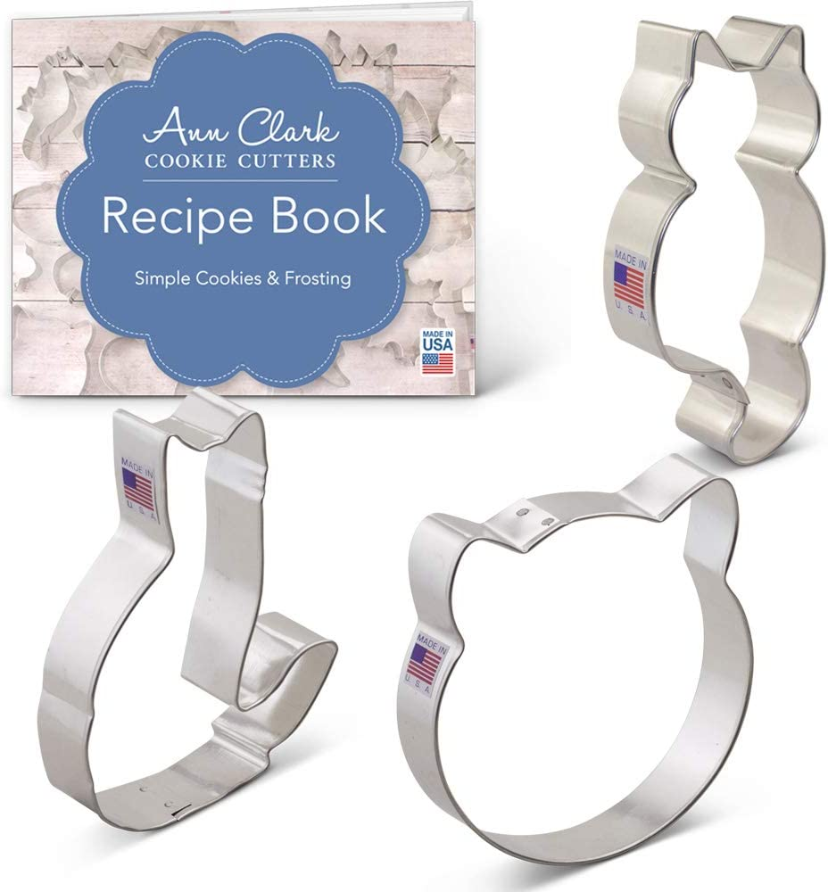 Ann Clark Cookie Cutters 3-Piece Kitty Cat Cookie Cutter Set with Recipe Booklet, Cat Face, Sitting Cat and Curled Cat