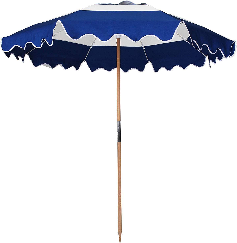 AMMSUN 7.5ft Fiberglass Ribs Commercial Grade Patio Beach Umbrella with Air- Vent Ash Wood Pole Carry Bag Navy
