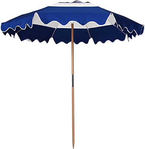 AMMSUN 7.5ft Fiberglass Ribs Commercial Grade Patio Beach Umbrella with Air- Vent Ash Wood Pole Carry Bag Navy