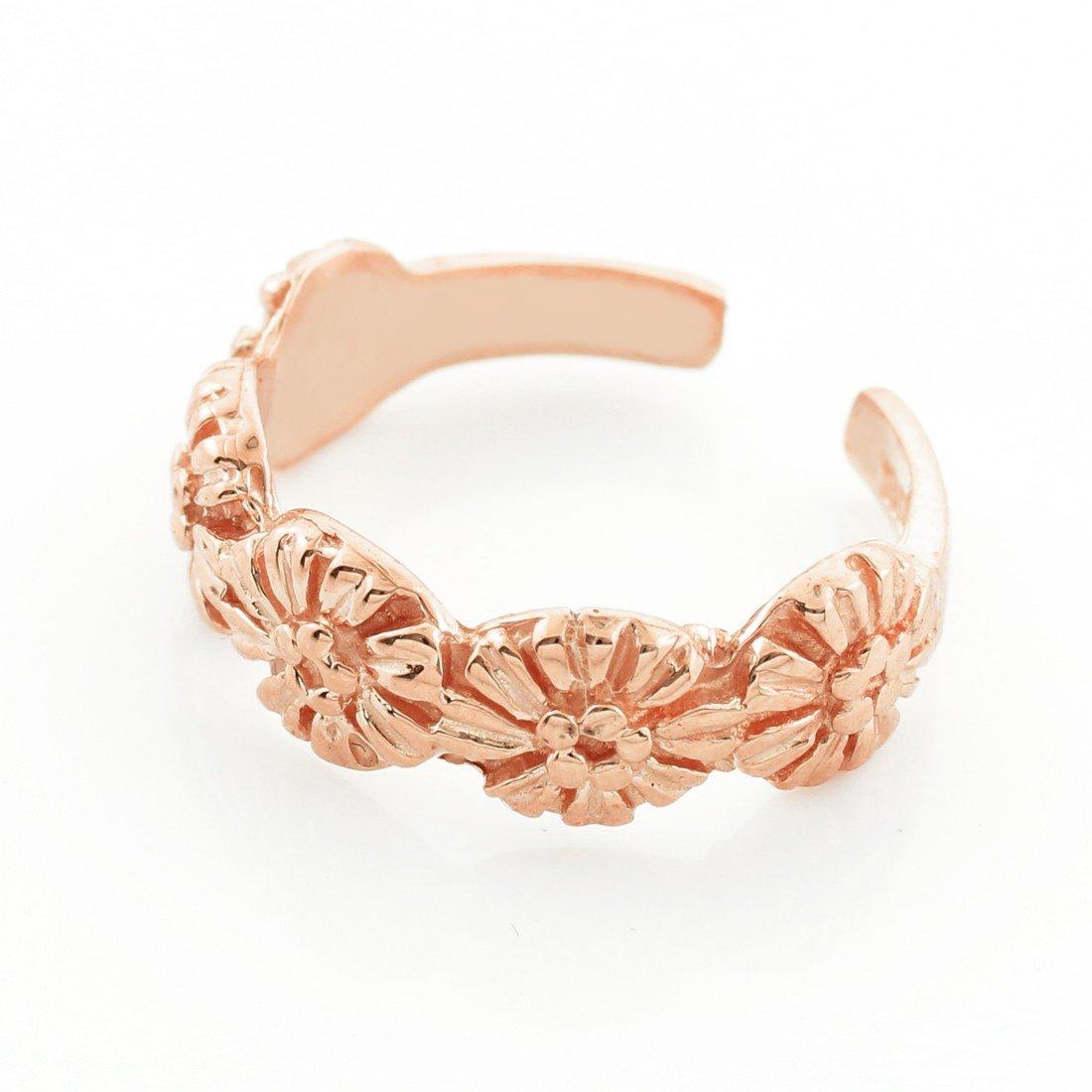 14k Rose Gold Floral Toe Ring