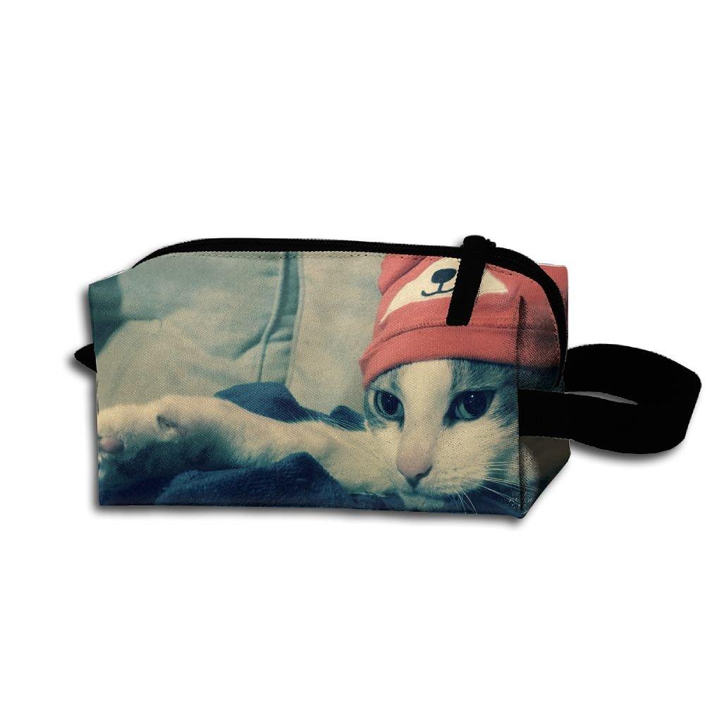 メイクアップコスメティックバッグCat Wear A Bear帽子Medicine Bag Zip旅行ポータブルストレージポーチforメンズレディース   B07DWP9FCN