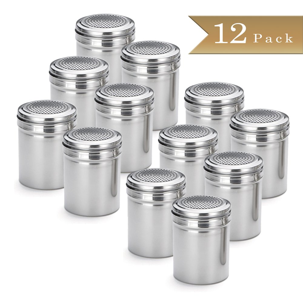 Set of 12 - TrueCraftware Stainless Steel Dredge Shakers - 10 Ounce