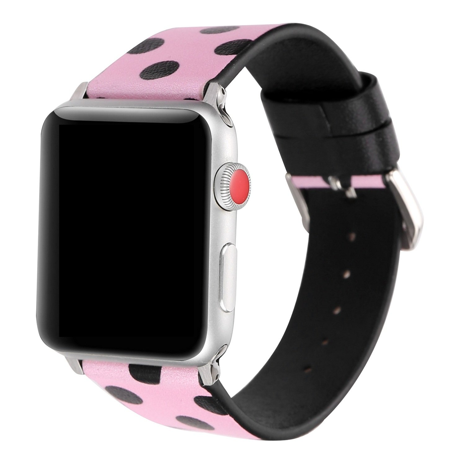 Juzzhou Band For Apple Watch iWatch Series 3/2/1 Sport Edition Leather Replacement Bracelet Wristband Wriststrap Watchband Wrist Strap With Metal Adapter Adjustable Buckle For Woman Girl Pink 38mm by Juzzhou (Image #2)