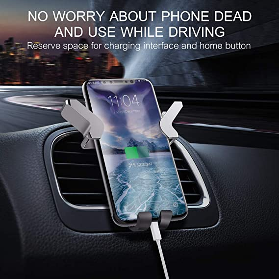 No Shaking Secure Spring and Auto-Clamping Compatible with iPhone Samsung and All Smartphones Universal Car Phone Mount with One-Handed and Angel Wing Design Voulttom Car Air Vent Phone Holder