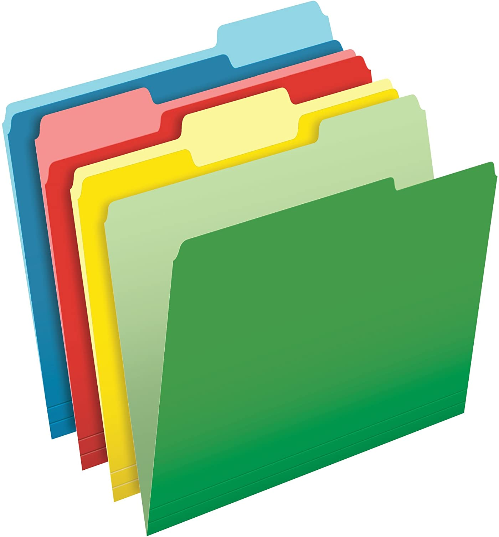 Pendaflex CutLess File Folders, Letter Size, 1/3 Cut, Assorted Colors, 100 per Box (48440)