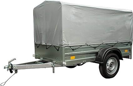 Unitrailer – Remolque para automóvil, jardín, Trailer, 200 con eje basculante, con pestillo alto y lona, superficie de carga 200 x 106 cm, 750 kg: Amazon.es: Coche y moto