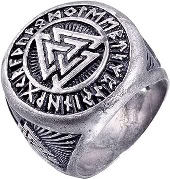 HIJONES Men's Stainless Steel Valknut Norse Viking Odin Symbol Ring Warrior Signet Biker Band
