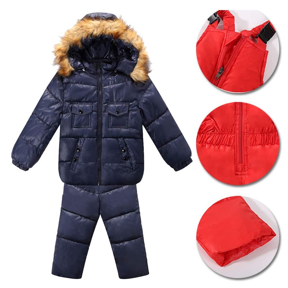 XFentech Invernale Bambino Giubbotto 2 Pezzi Tuta da Sci con Cappuccio Unisex Set Tute Completo da Neve Snowsuit Caldo Giacca Cappotto