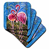 3dRose cst_54920_1 This is The Trinity Concept of Love Bird Flamingos and The Subliminal Heart Formed by The Heads Soft Coasters, Set of 4