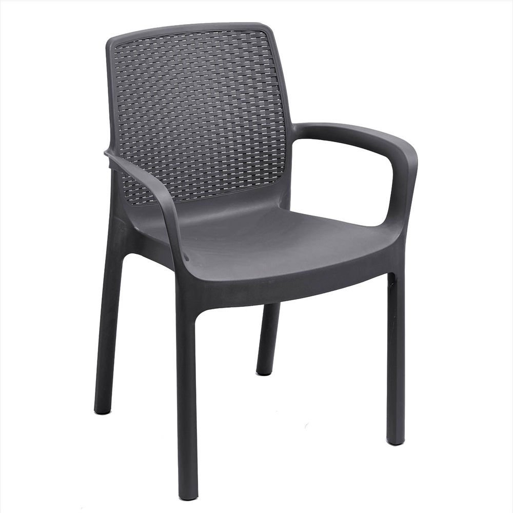 Ipae-Progarden Regina Stackable Chair with Rattan Effect, Anthracite, 60.5 x 54 x 82 cm 8009271016309