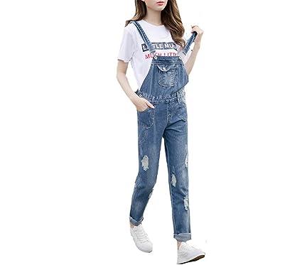 559e5c90530f4 Woodin New Fashion Women Jean Jumpsuit Korean Style Hole Denim Overalls  Casual Skinny Pocket Blue S