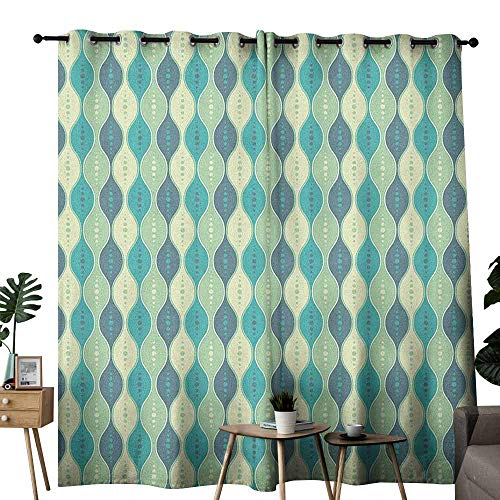 duommhome Abstract Privacy Curtain Oval Curved Vertical Lines with Classic Effects Dots Retro Graphic Set of Two Panels W120 x L84 Sea Green Petrol -